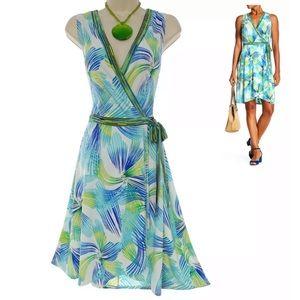 20W 2X▪️PRINT TULIP HEM FAUX-WRAP DRESS Plus Size